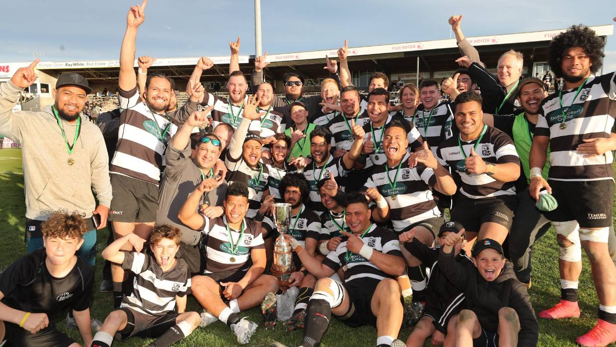 The Temuka senior rugby team celebrates winning the Hamersley Cup after a dramatic final against Waimate on Saturday.